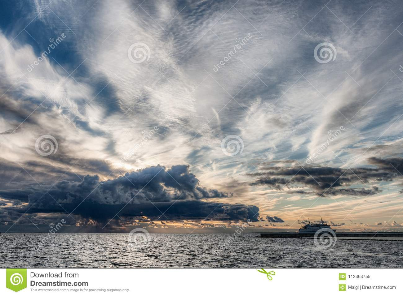 Download Safe Harbor With Stormy Sky Stock Image - Image of ocean, nature: 112363755