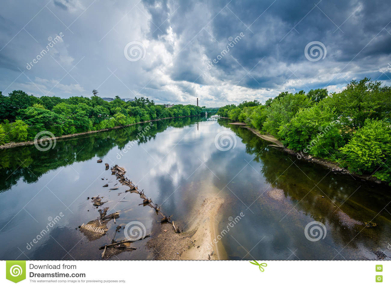 Storm clouds over the Merrimack River, in Manchester, New Hamps