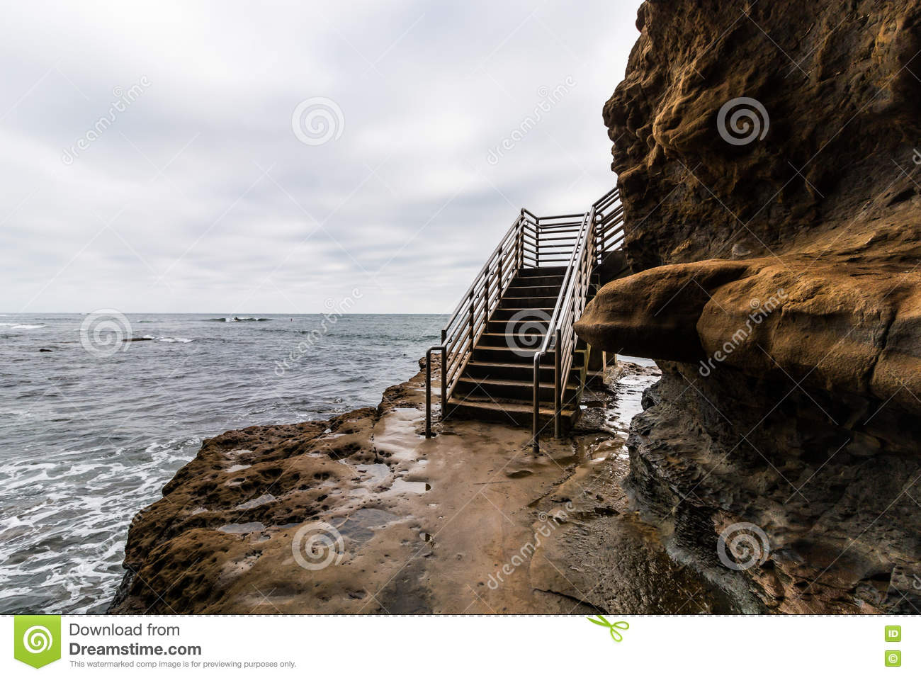 Storm Clouds Over Sunset Cliffs Ocean Access Stairs