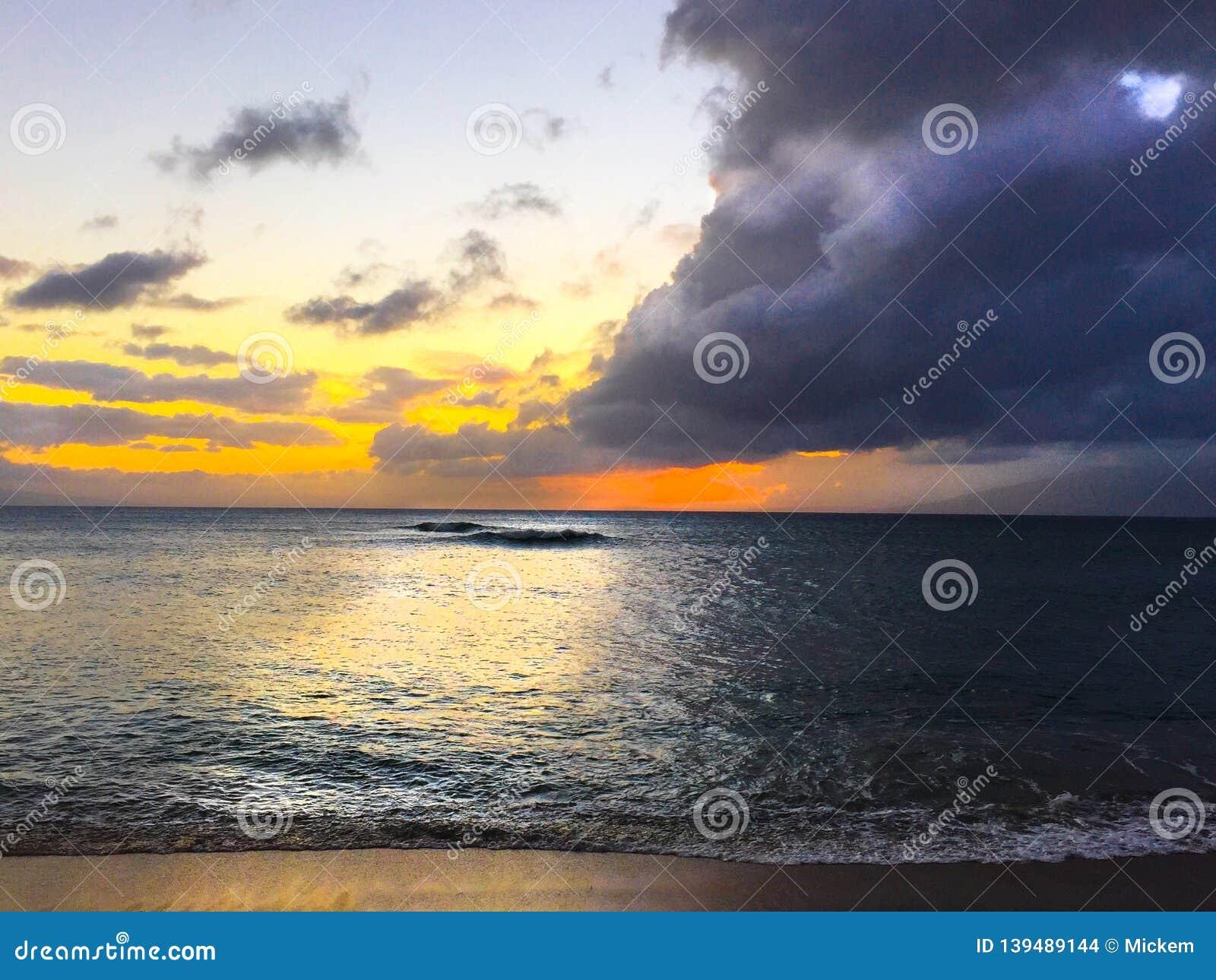 Storm Clouds Sunset Ocean