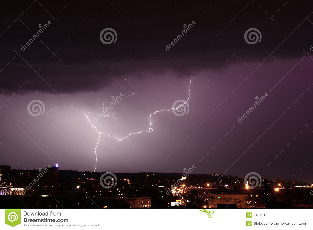 Storm and lightning over city