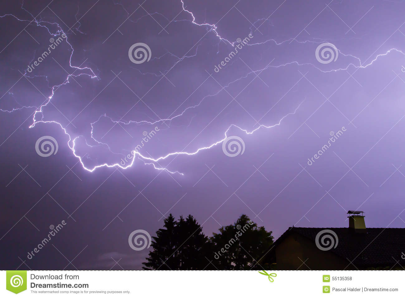 Storm with lightnings, a house and trees