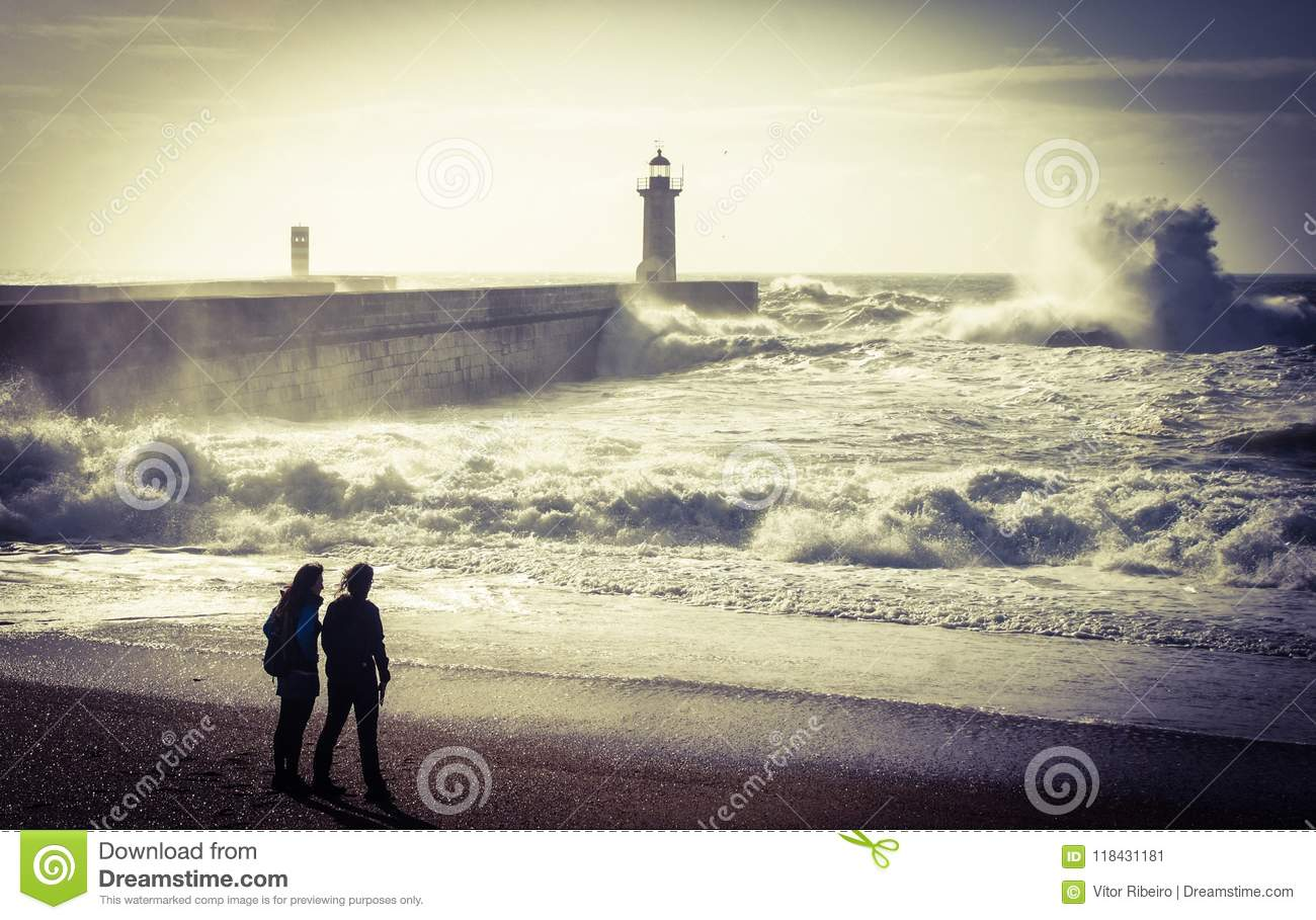 Storm in Oporto lighthouse