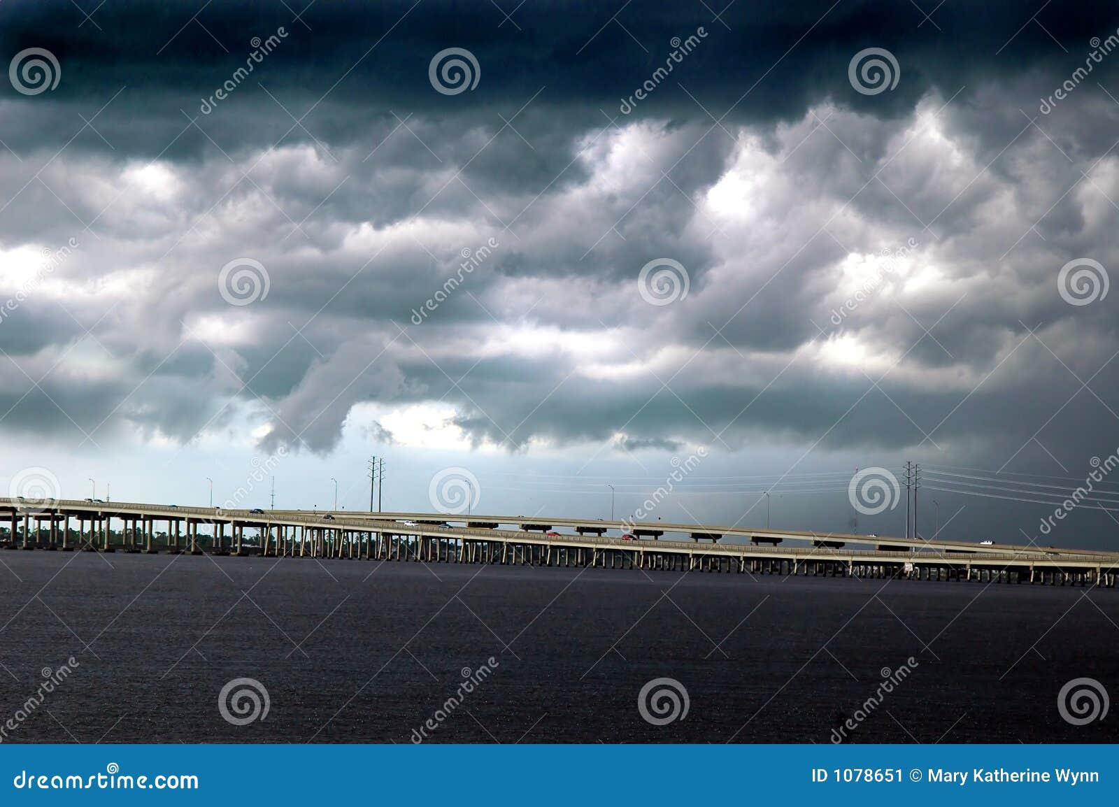 Storm over bridge