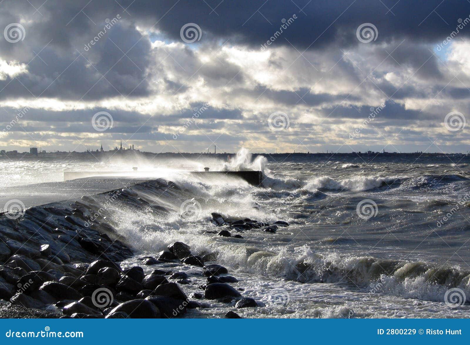 Storm at sea in Tallinn, Estonia