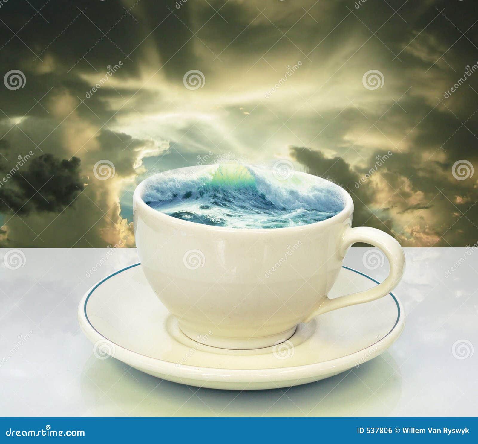 Storm In A Teacup Stock Photo Image Of Dark Ocean Skies