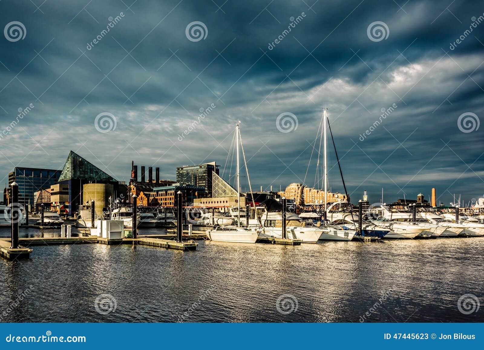 Stormmoln över en marina på den inre hamnen, Baltimore, Maryl