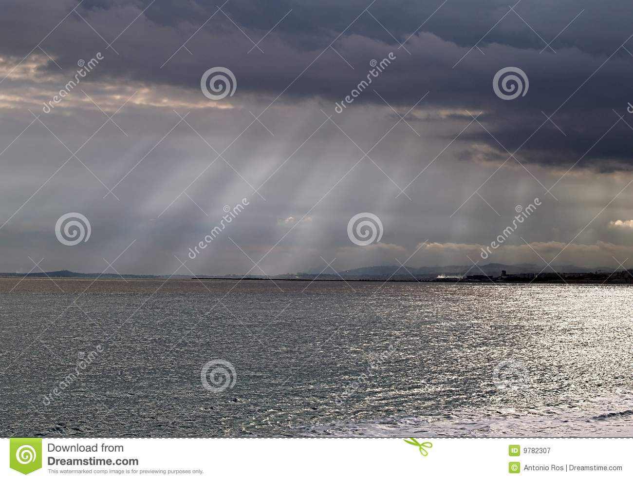Storms on the sea in the South French coast
