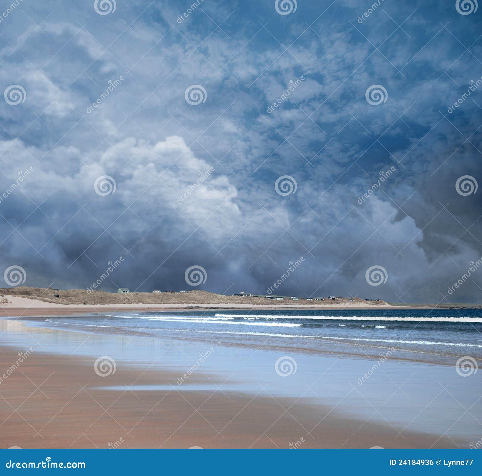 Stormy Beach Scene Stock Photo. Image Of Sandy, Dark