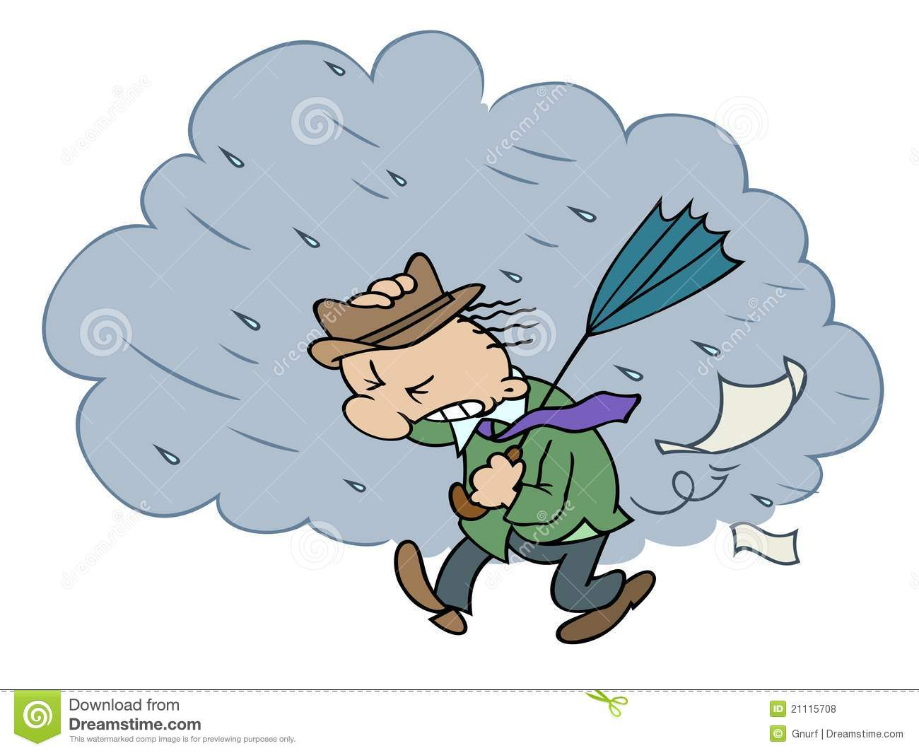 cartoon character walking in bad stormy weather, holding an umbrella ...