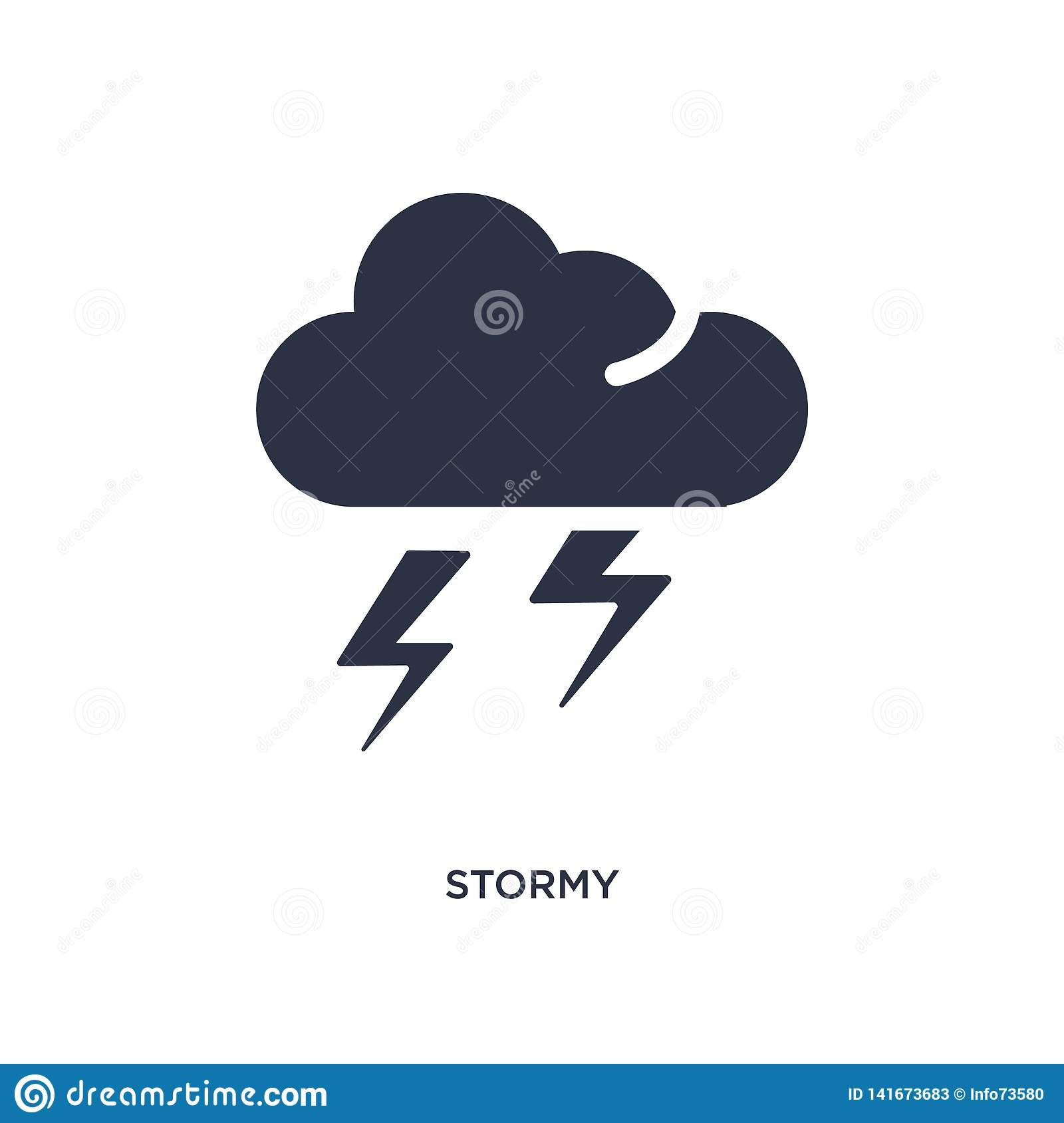 stormy icon on white background. Simple element illustration from weather concept