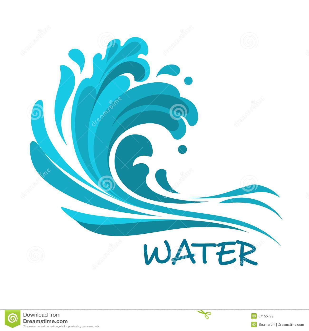 Stormy Sea Wave Abstract Symbol Stock Vector