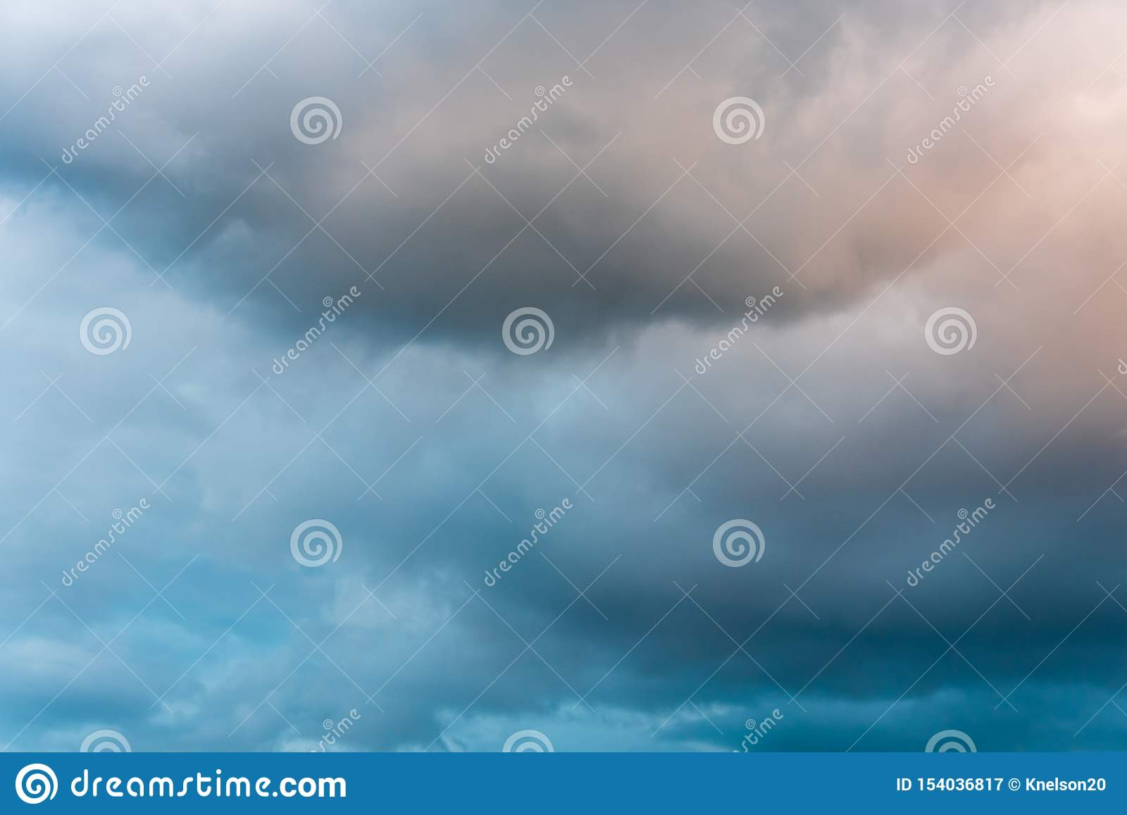 Stormy Sky At Twilight With Clouds In Various Shades Of Blue Gray And Orange Stock Image Image Of Texture White 154036817