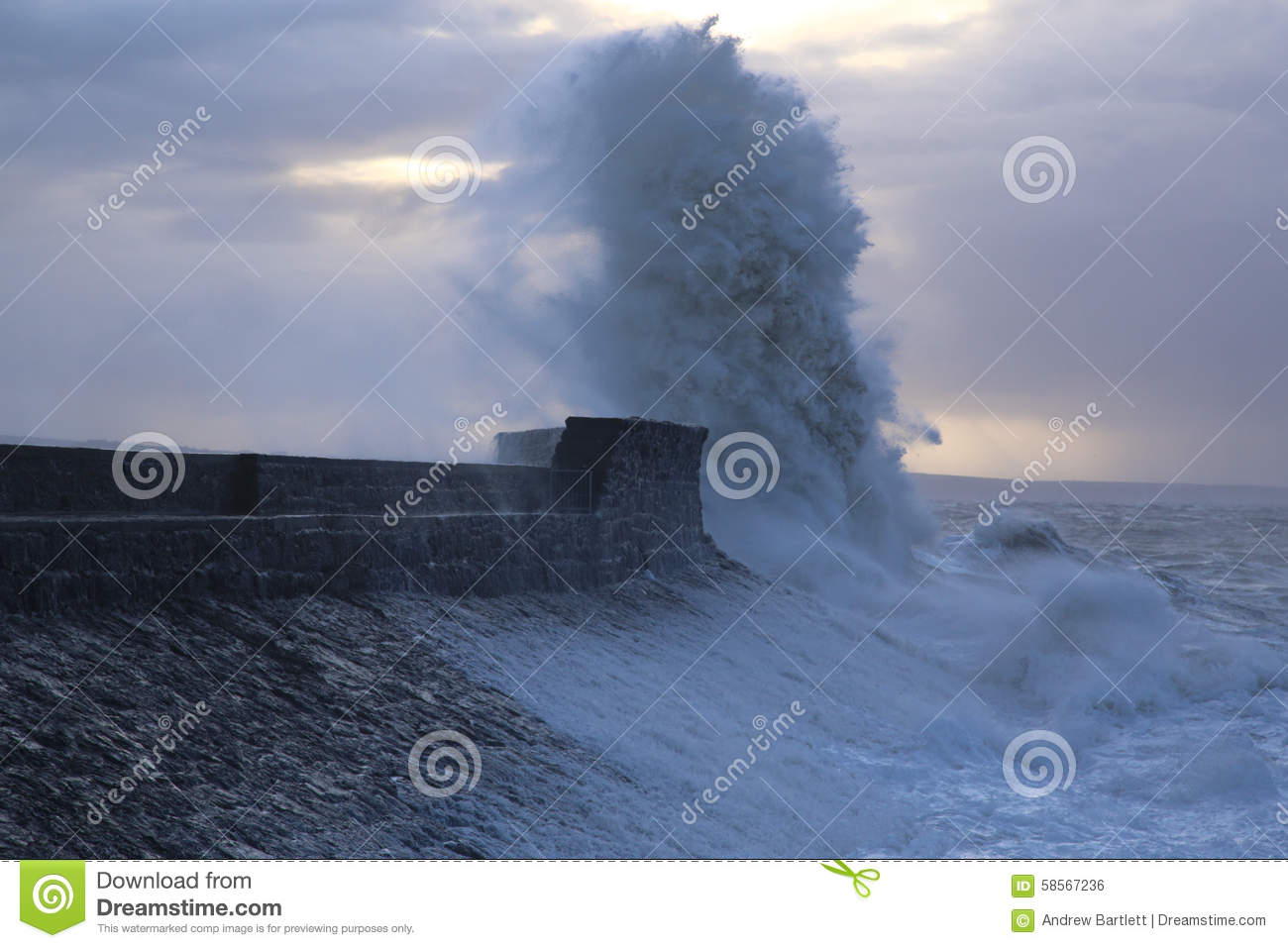 Stormy weather at Porthcawl lighthouse, South Wales, UK.