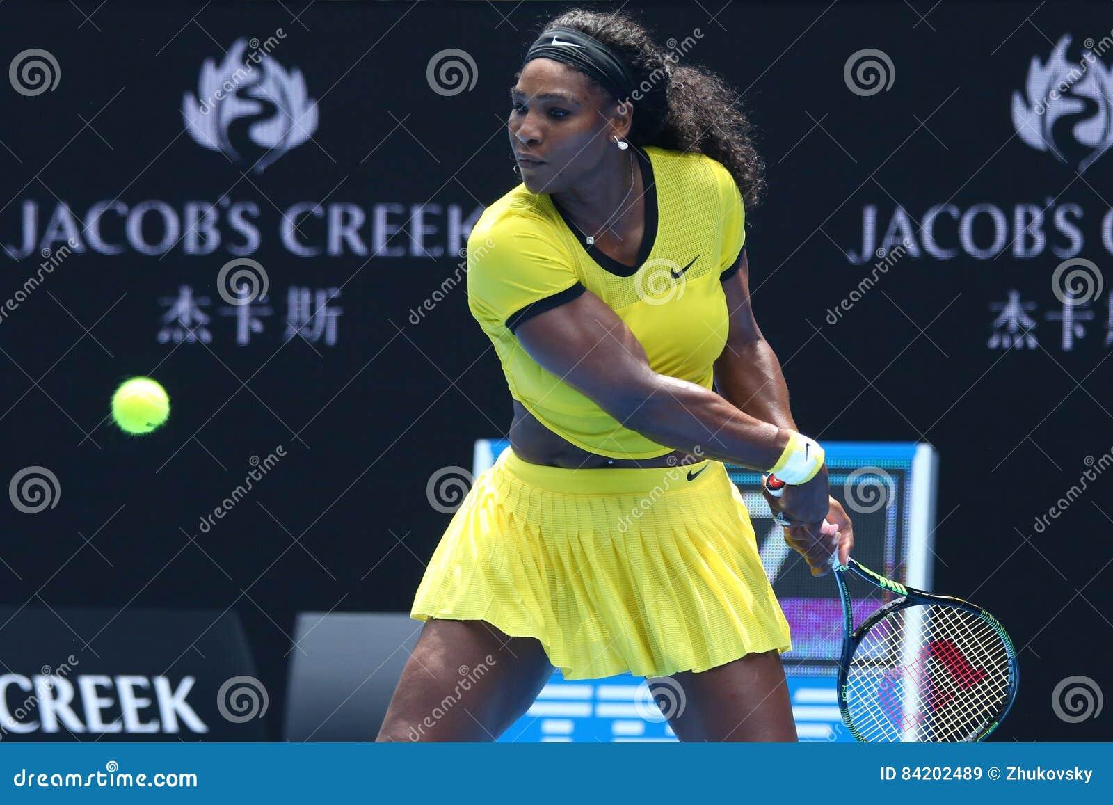 Storslagen Slam för tjugo öppnar en gånger mästare Serena Williams i handling under hennes fjärdedelfinalmatch på australiern 201