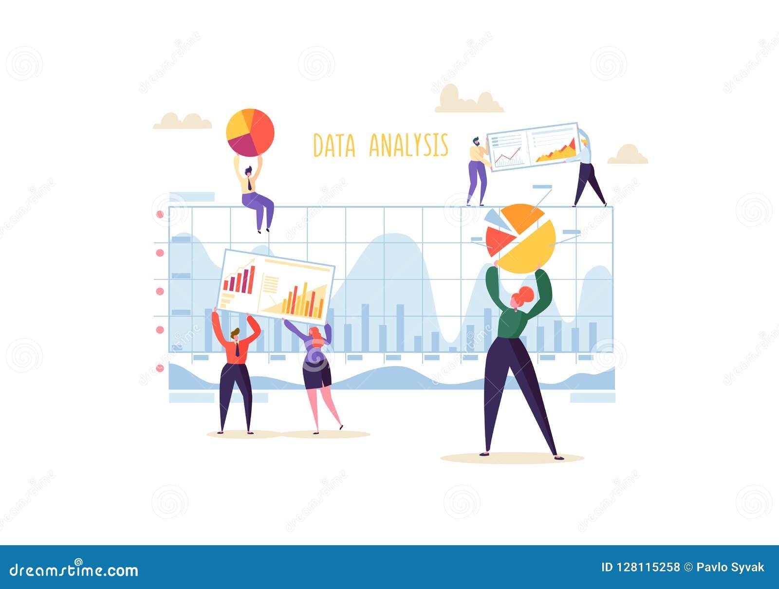 Stort begrepp för dataanalysstrategi MarknadsföringsAnalytics med tecken för affärsfolk som arbetar samman med diagram