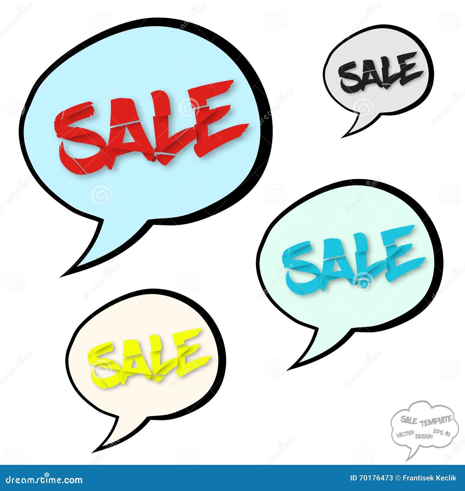 Stort försäljningsbegrepp i komikerbubblor