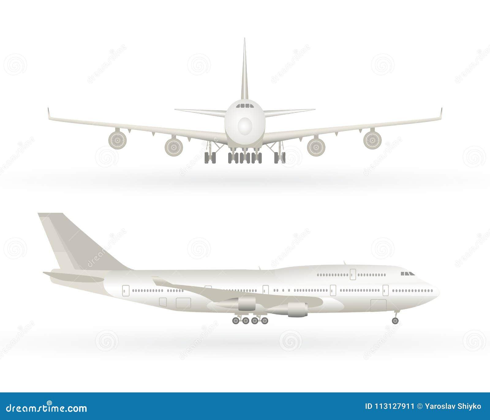 Stort kommersiellt strålflygplan Flygplan i profilen, framifrån sikt Isolerat flygplan Flygplanvektorillustration