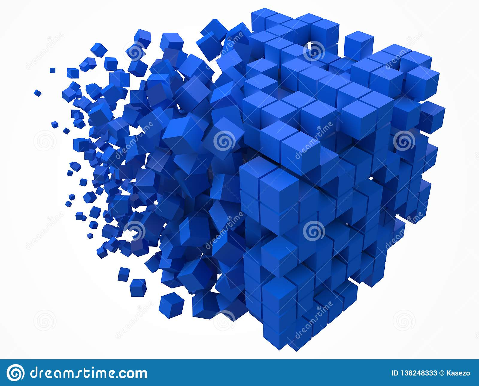Stort kubikdatakvarter gjort med mindre blåa kuber för stilvektor för PIXEL 3d illustration
