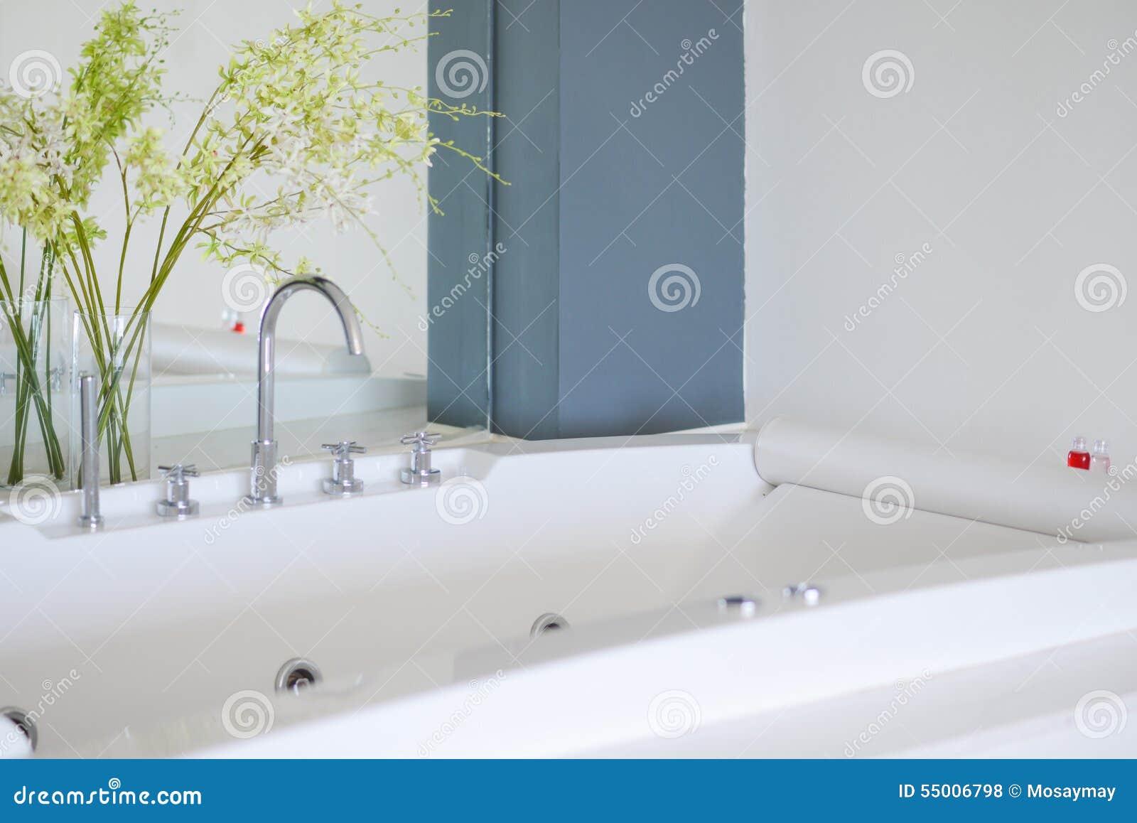 Stort badkar i ett badrum arkivfoto   bild: 49038439