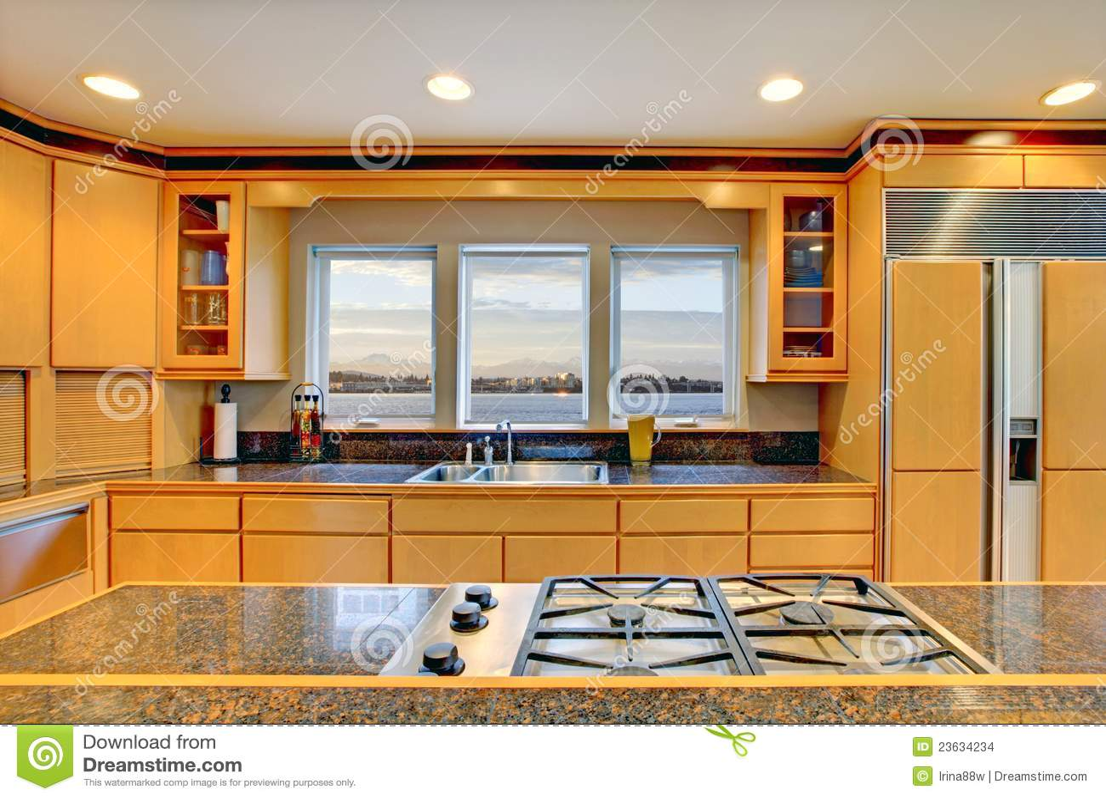 Stort lyxigt modernt trä för kök