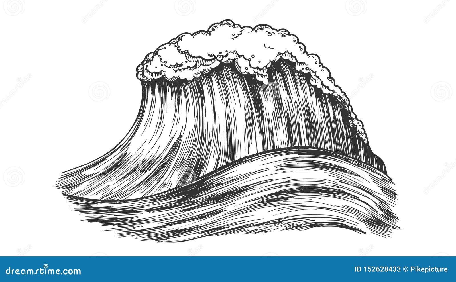 Stort skummande tropiskt hav Marine Wave Storm Vector