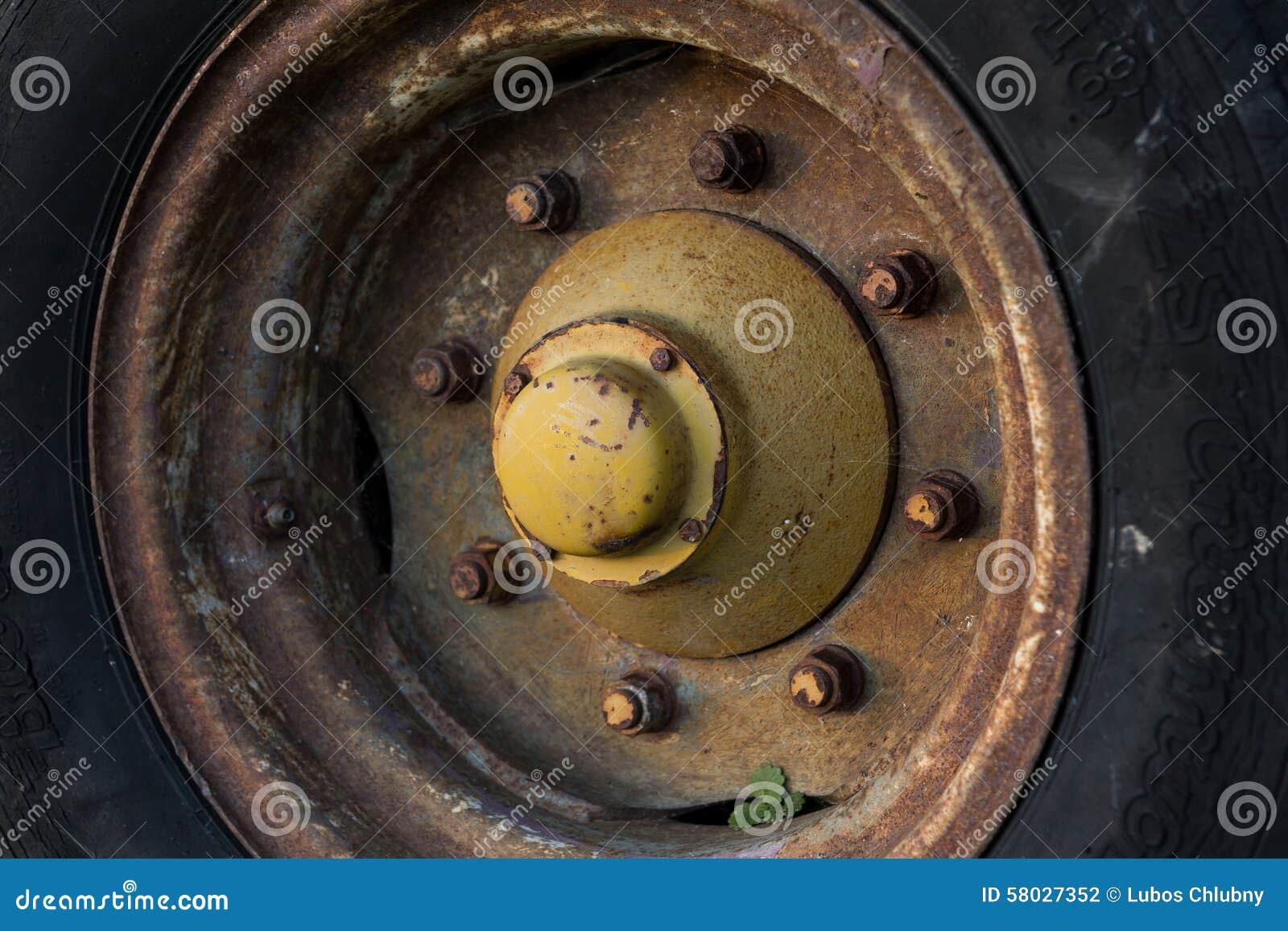 Stort tungt gummihjul och hjul