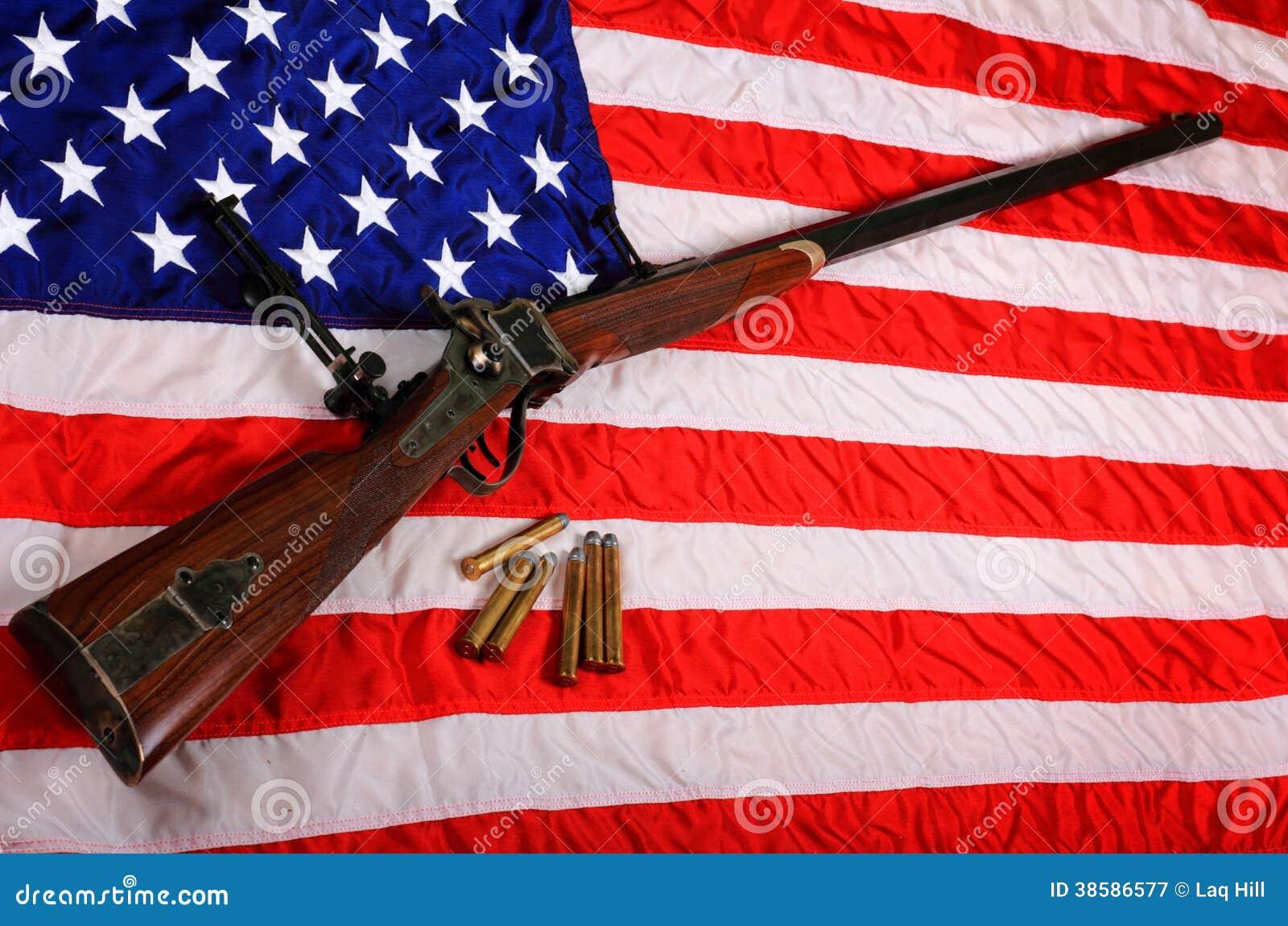 Stort vapen på amerikanska flaggan