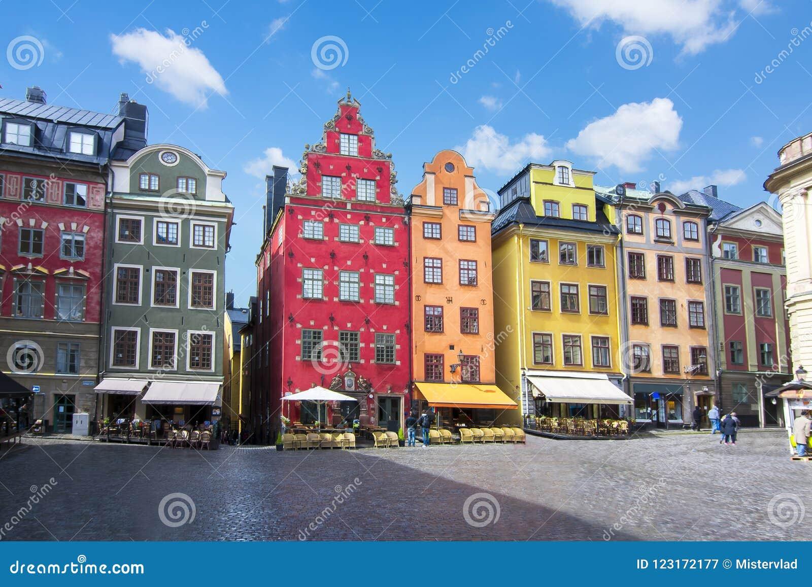 Stortorget fyrkant i Stockholm den gamla stadmitten, Sverige