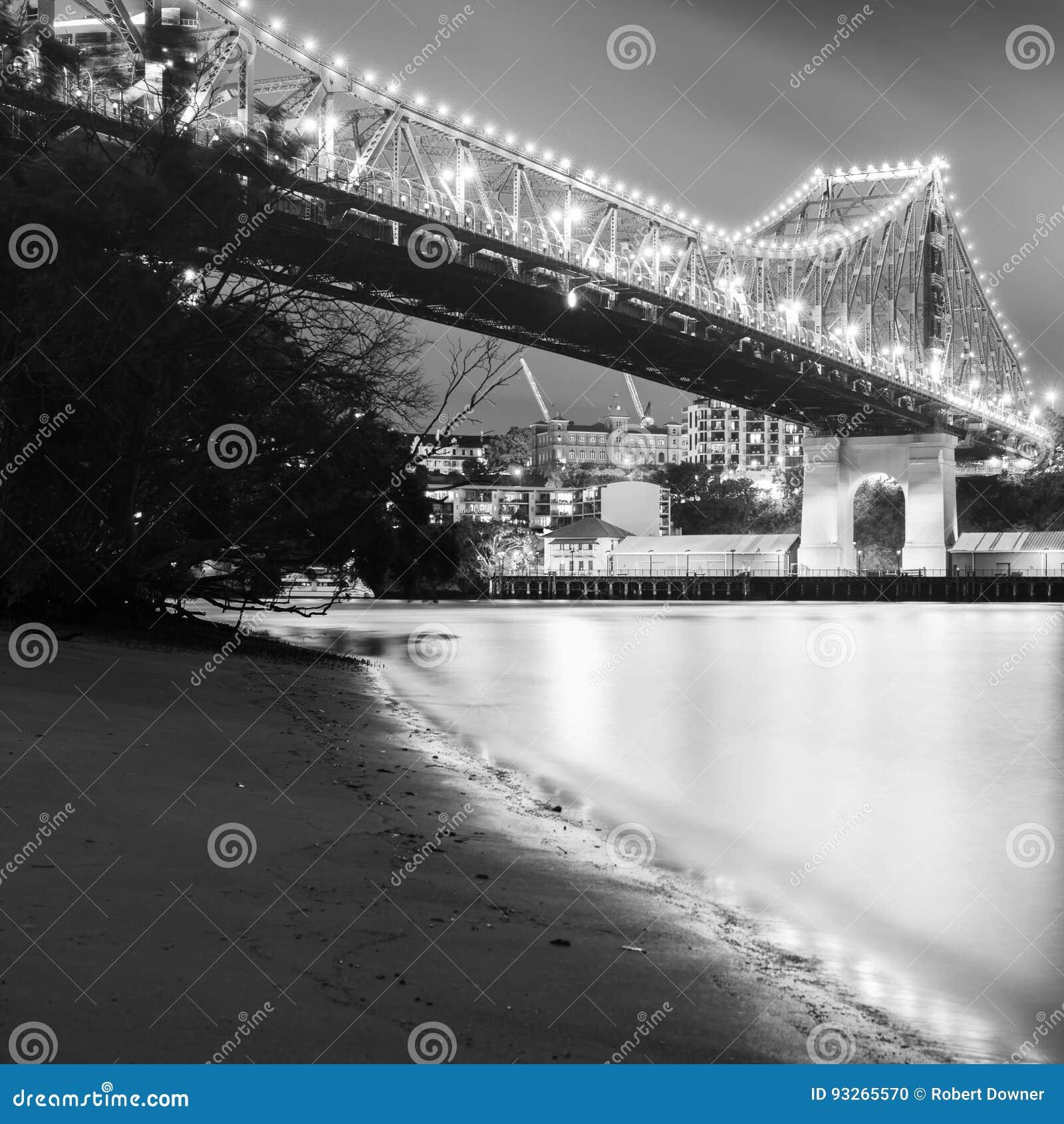 The iconic story bridge in brisbane queensland australia black and white