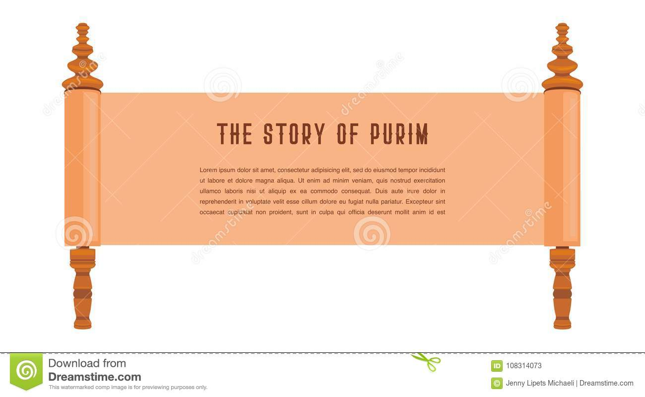 the story of purim jewish acient scroll banner template