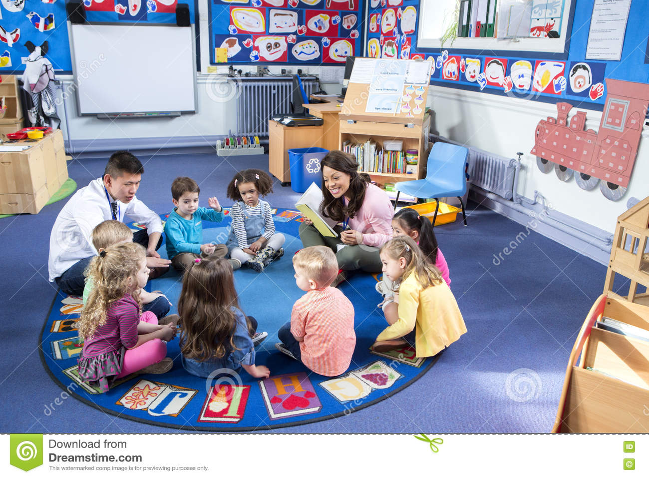 Story time at nursery stock photo image 73724784 for Classroom floor