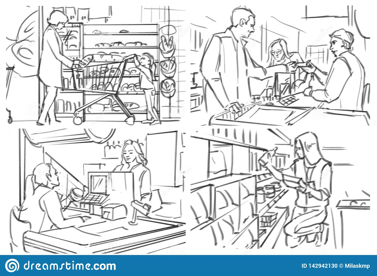 Storyboard with people shopping at grocery