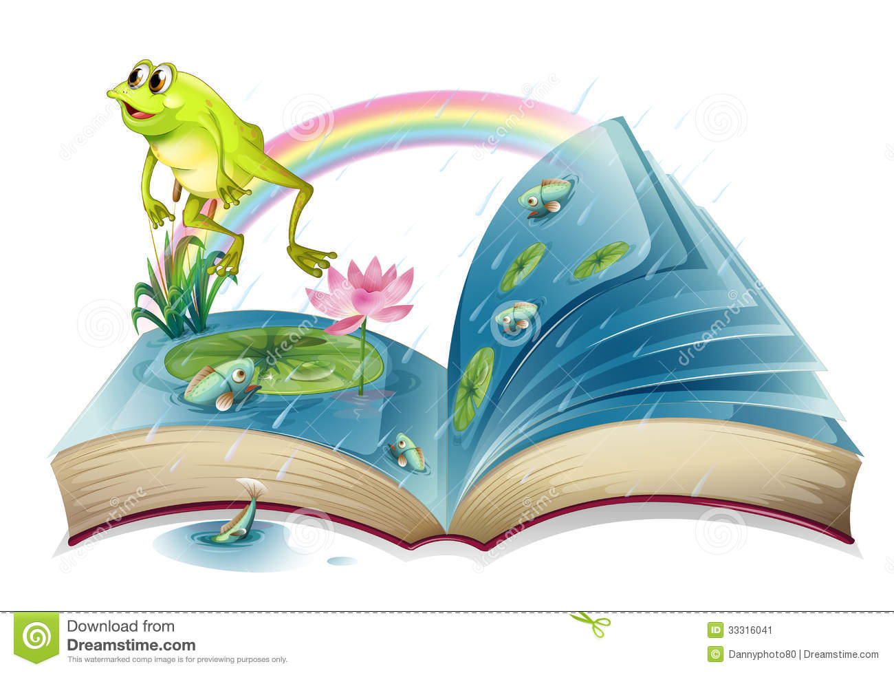 A Storybook With A Frog And Fishes At The Pond Stock Image