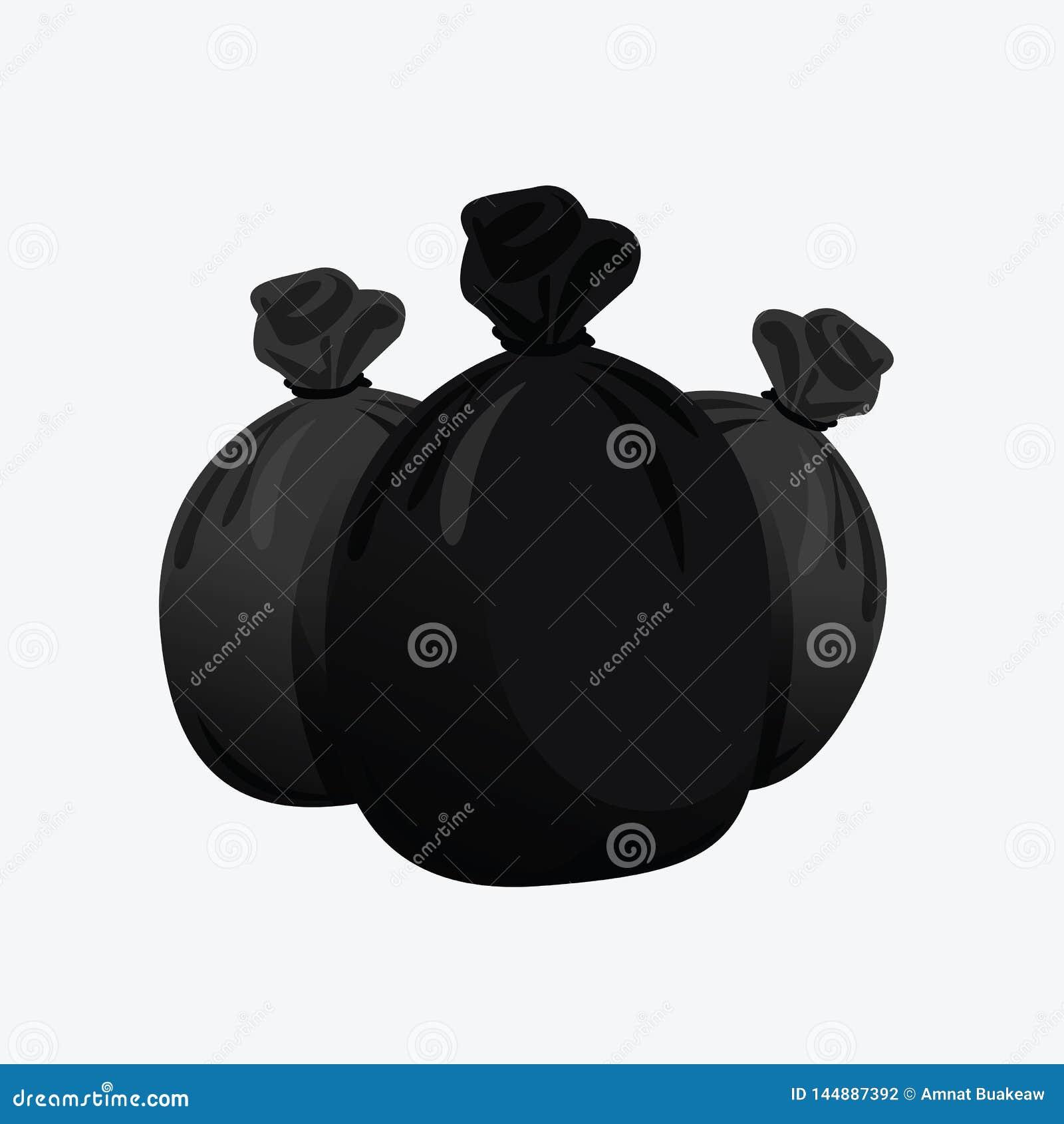 Stos czarny torba klingerytu odpady, śmieci trzy toreb plastikowego czarne, czarny, plastikowej grat torby ilustracji