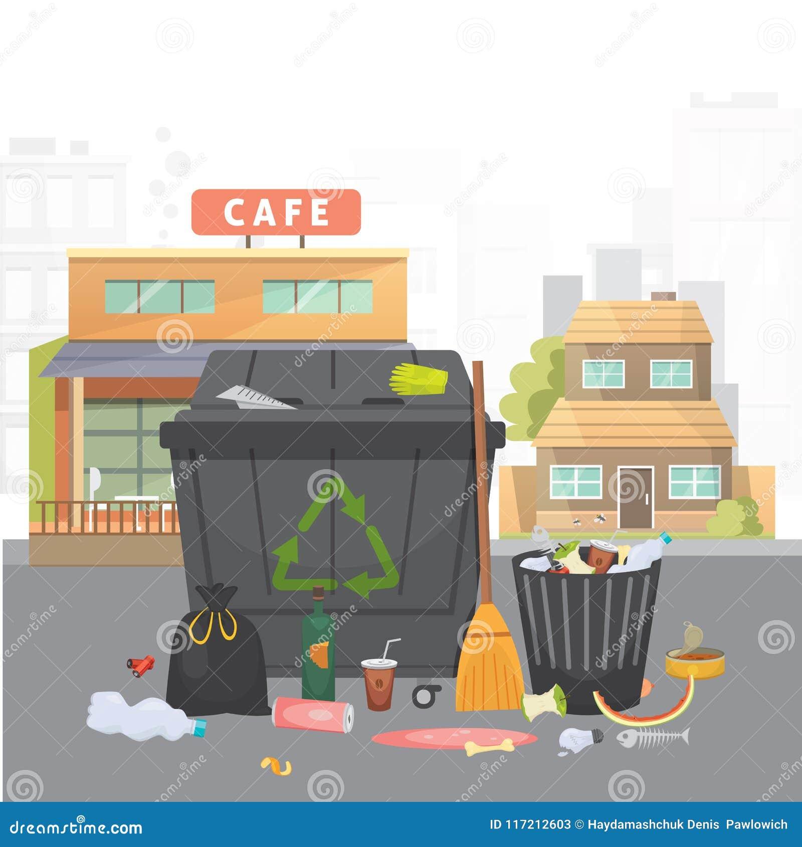Stos grat Śmieci na miasta tle Wektor odosobniona ilustracja