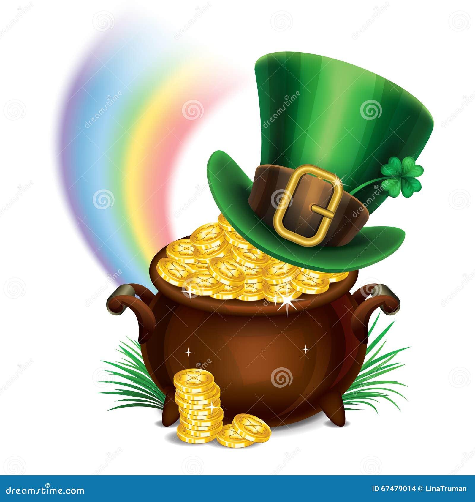 StPatrick的天标志罐金和妖精帽子
