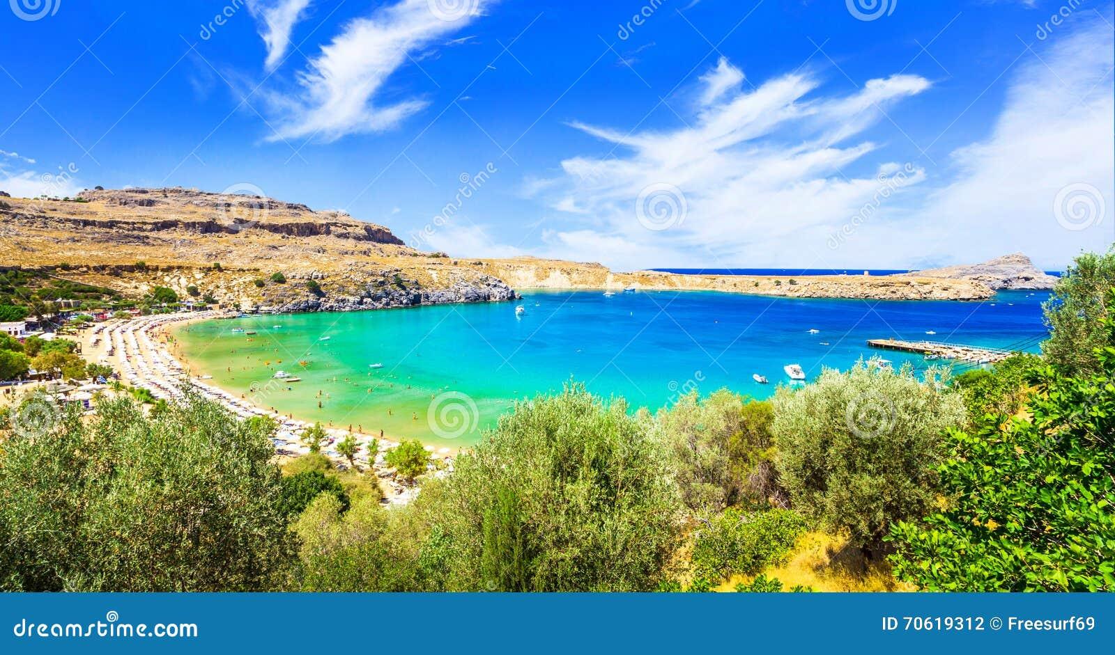 Strände Von Griechenland Lindos In Rhodos Insel Stockfoto Bild