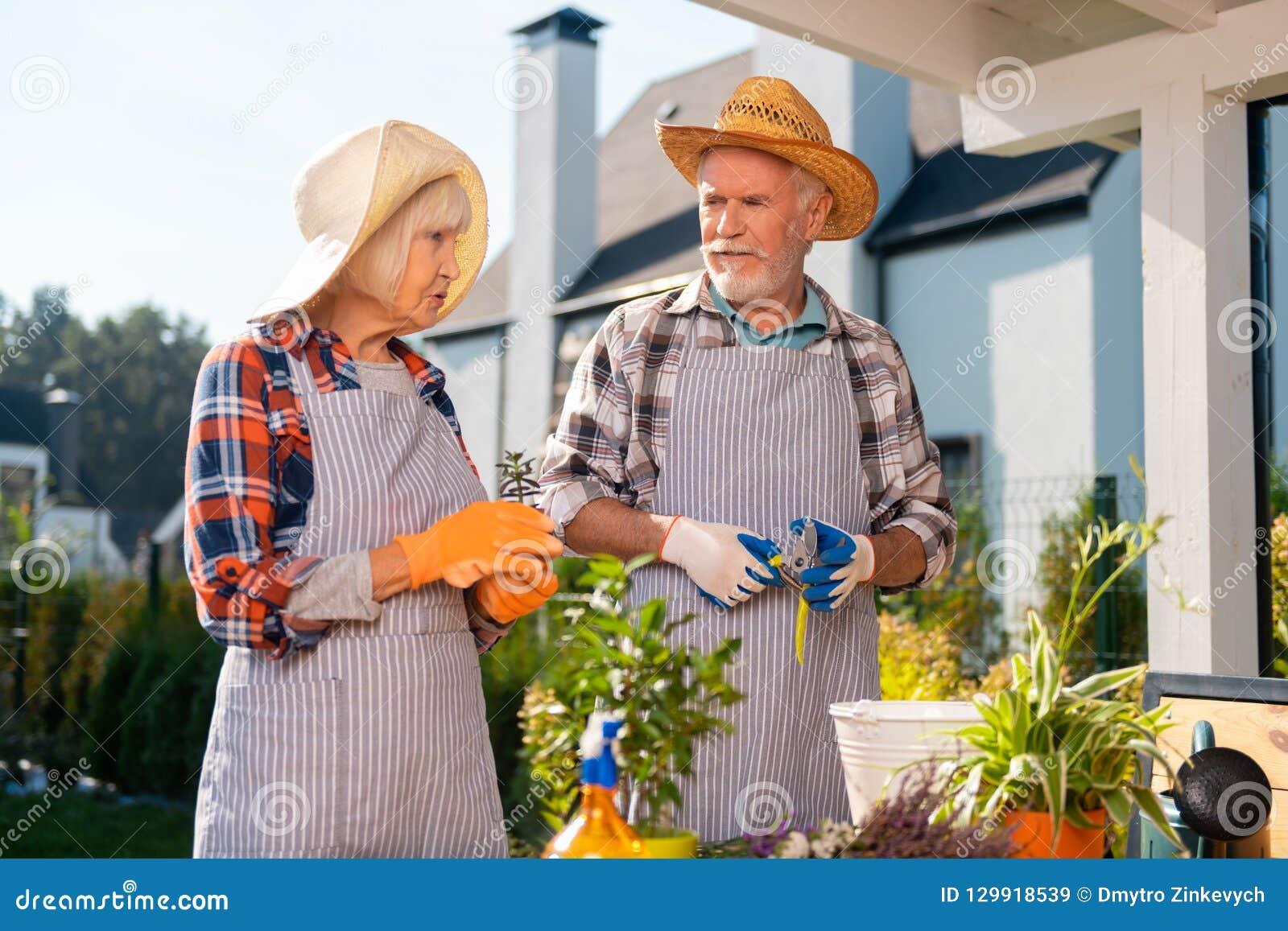 Strävsamma par som tar omsorg av plan och blommor som arbetar i trädgården