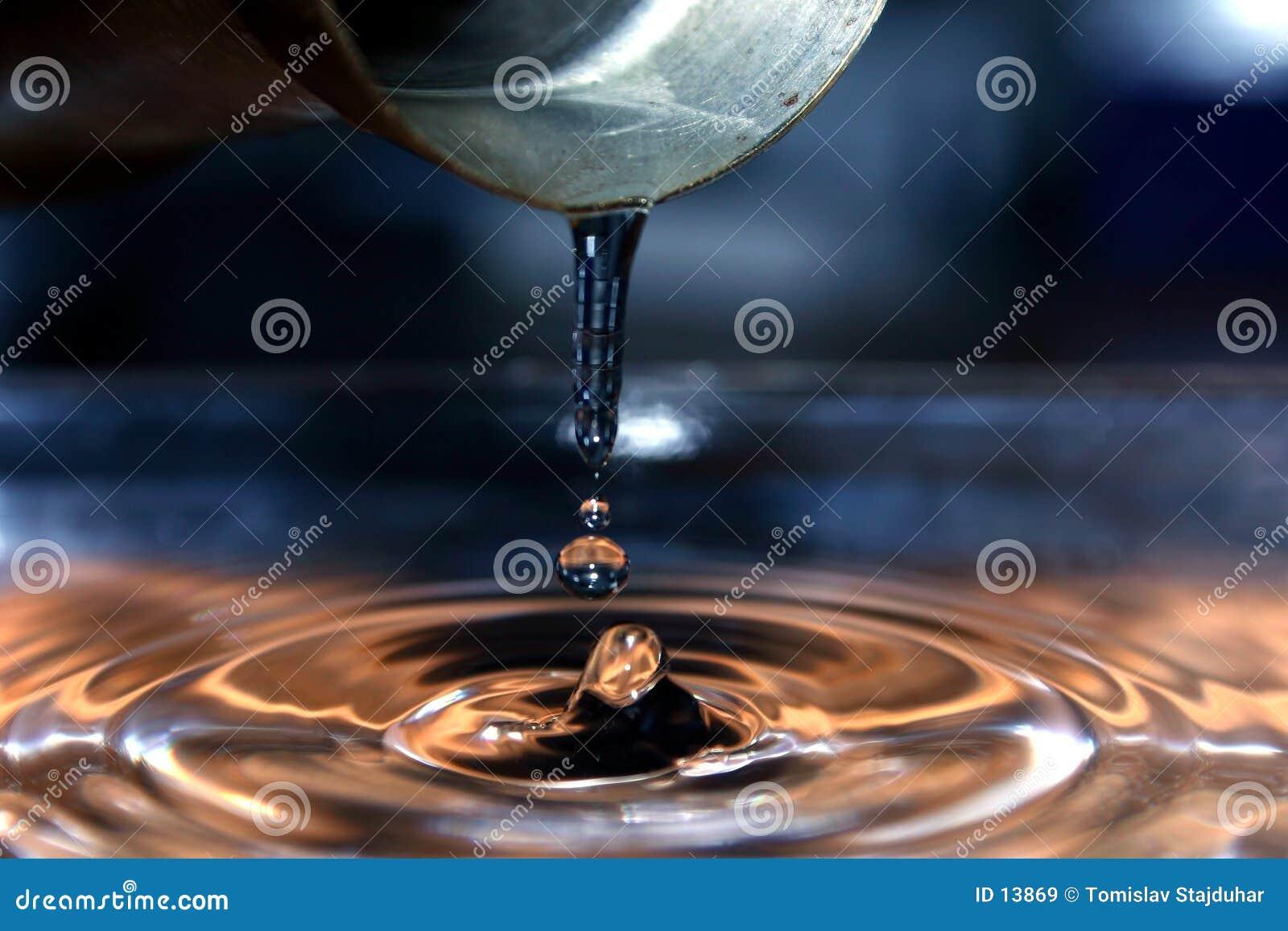 Strömende Wassertropfen