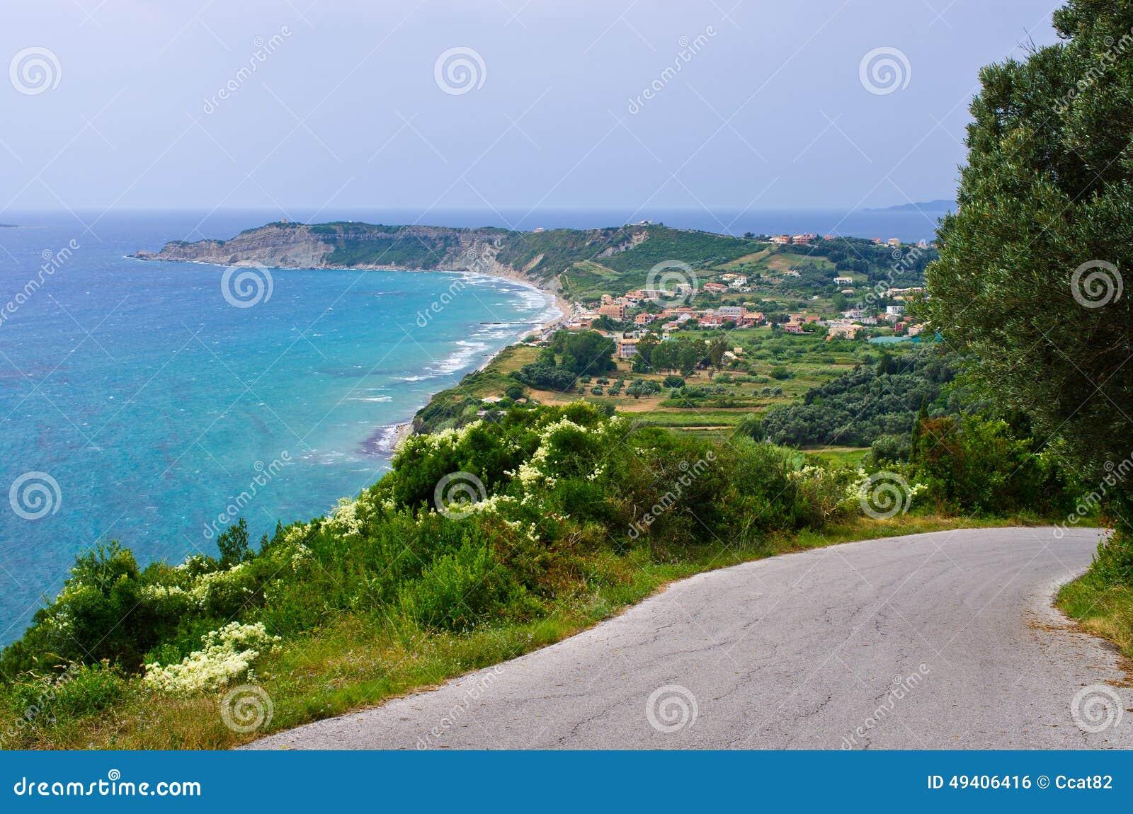 Download Straße Auf Korfu-Insel, Griechenland Stockfoto - Bild von entspannung, mittelmeer: 49406416
