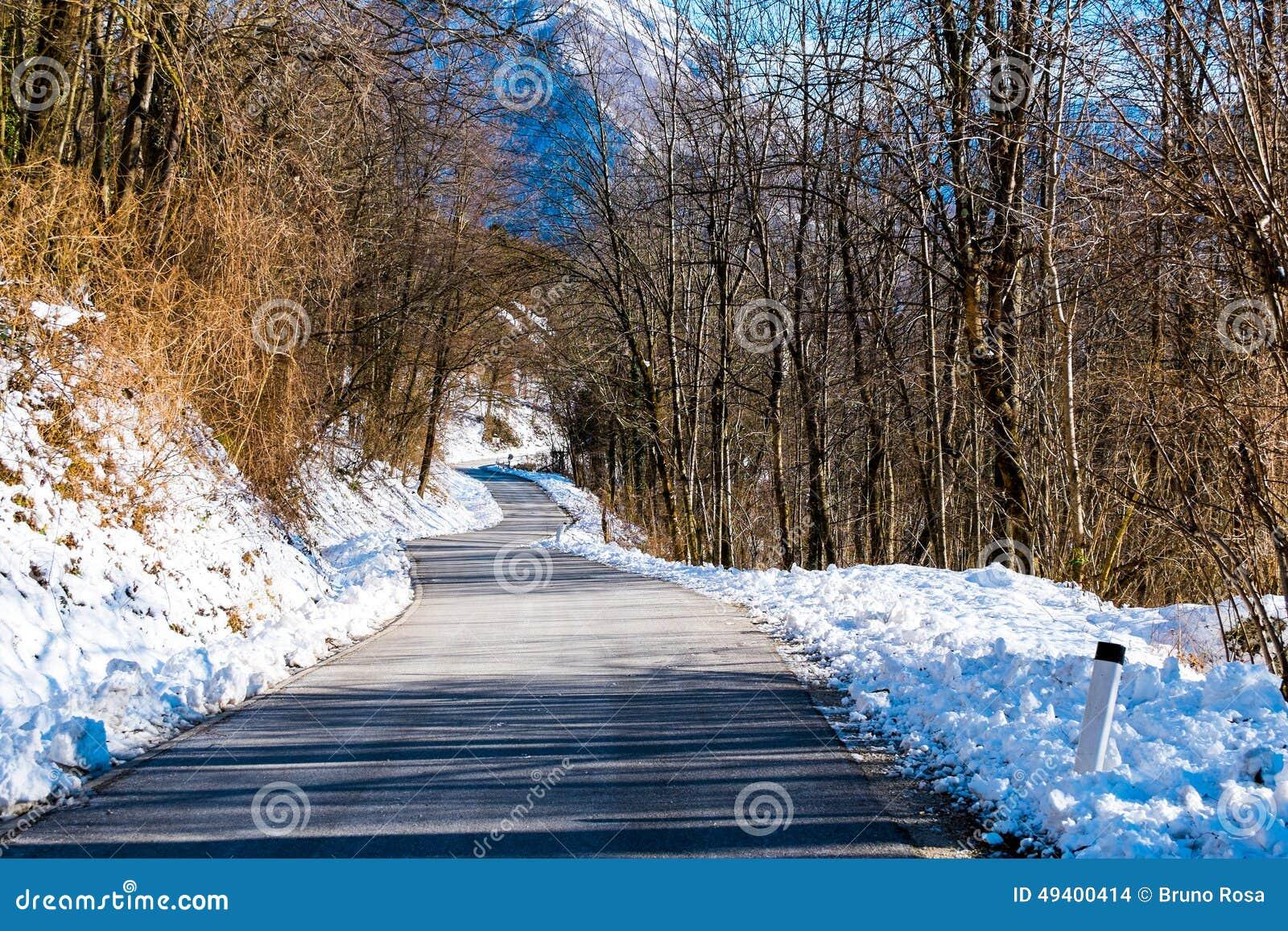 Download Straße Auf Winter Und Schneelandschaft Stockfoto - Bild von grün, alpen: 49400414