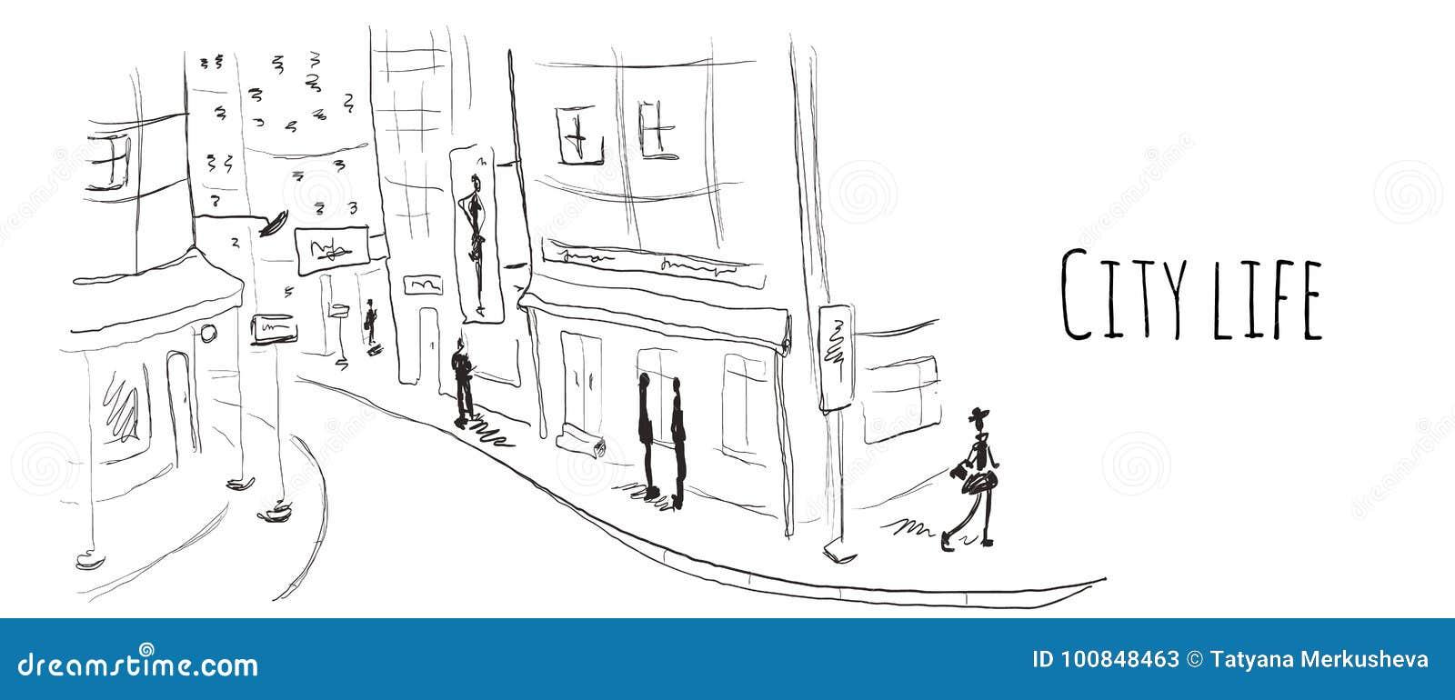 Straße der alten Stadt Vektorillustration in der Skizzenart