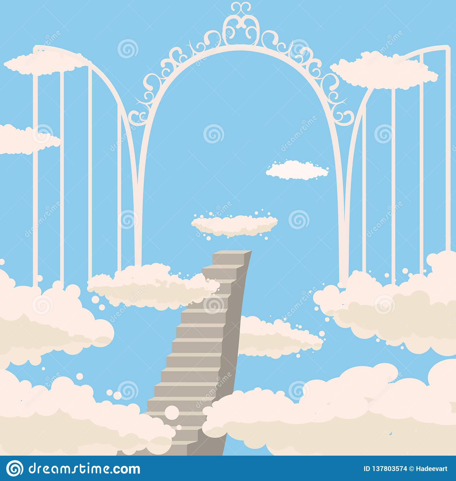 Straße, Treppe zum Himmel, offene Tore des Himmels, Himmel, Wolken, Christentum, Vektor, lokalisiert, Karikaturart