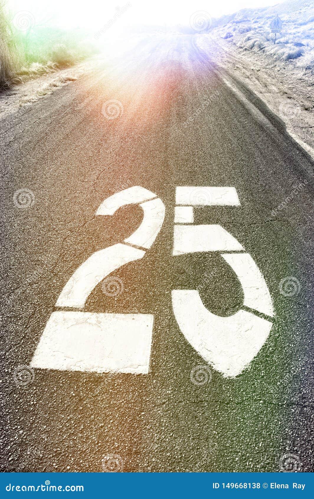 Straßen-Geschwindigkeit fünfundzwanzig MPH