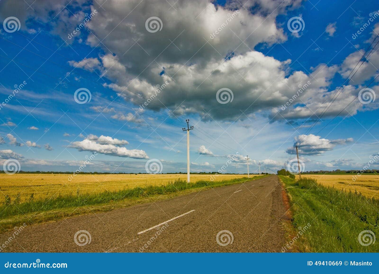 Download Straßen- und Weizenfeld stockbild. Bild von getreide - 49410669