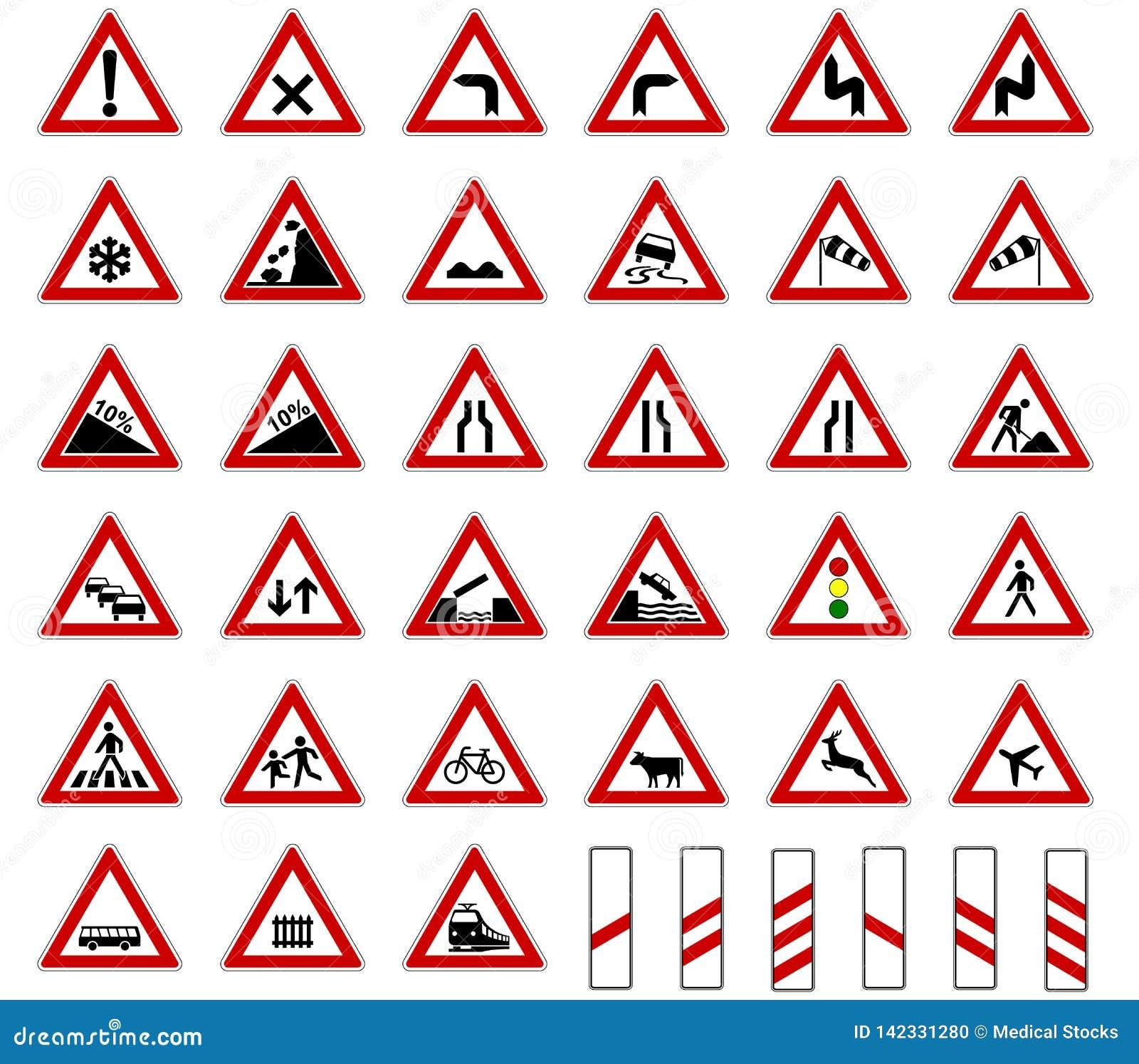 Straßeneuropa-Verkehrszeichen-Sammlungsvektor lokalisiert auf weißem Hintergrund
