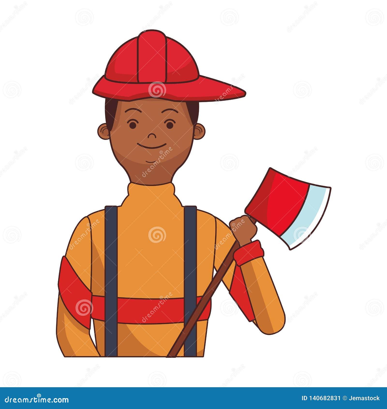 Strażaka bohatera upperbody kreskówka