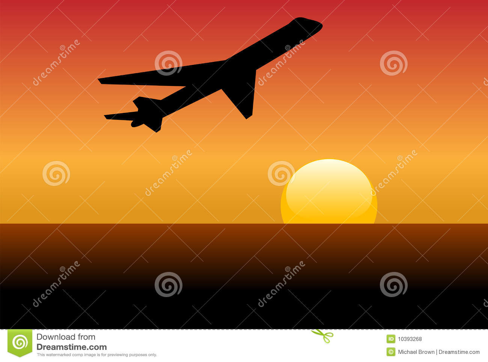 Straal het silhouetstart van de luchtvaartlijn in zonsondergang of dageraad