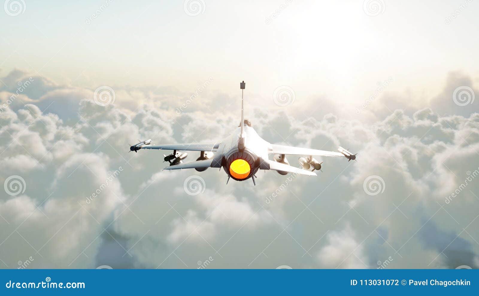Straal, vechter die over wolken vliegen Oorlog en wapenconcept het 3d teruggeven